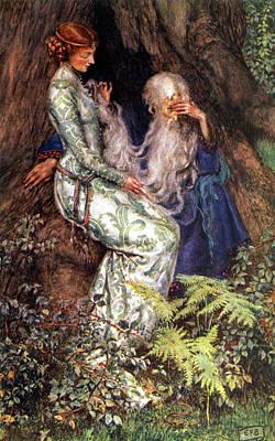 Tree Roots Digital Art - Merlin And Vivien by Eleanor Fortescue Brickdale