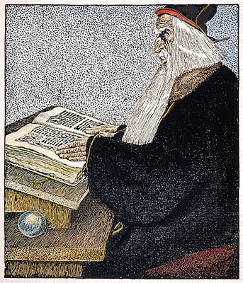 Turn Of The Century Drawing - Merlin The Magician by Granger