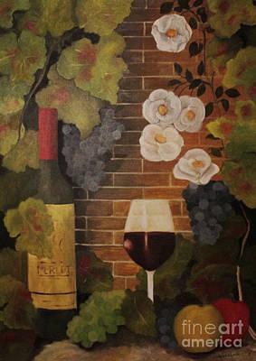 Art Print featuring the painting Merlot For The Love Of Wine by John Stuart Webbstock