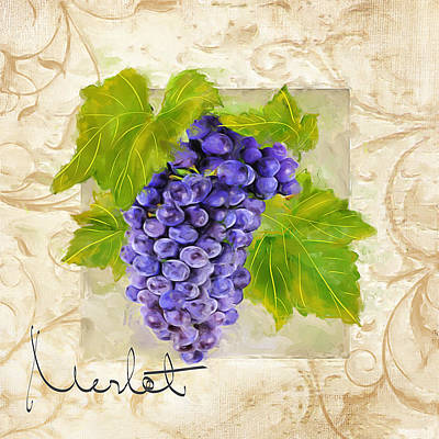 Cabernet Wine Painting - Merlot by Lourry Legarde