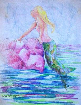 Painting - Mermaid A by Nancy Wait