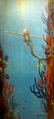 Painting - Mermaid Along The Reef Cliff by Duane McCullough