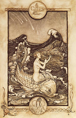 Ocean Scenes Drawing - Mermaid And Dolphin From A Midsummer Nights Dream by Arthur Rackham