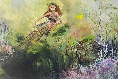 Mermaid And Friends Art Print by Nancy Gorr