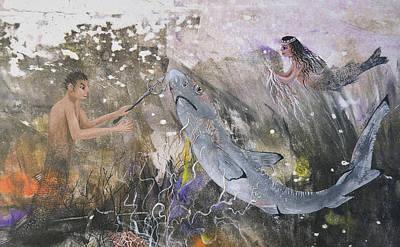 Mixed Media - Mermaid And Neptune by Nancy Gorr