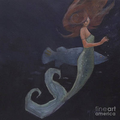Mermaid Tail Painting - Mermaid And The Blue Fish by Mary Hubley