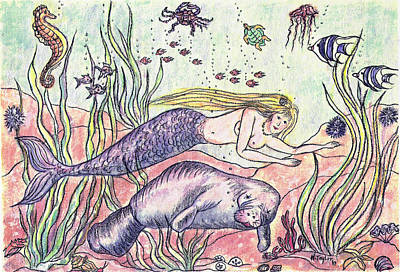 Mermaid And The Manatee Art Print by Nancy Taylor