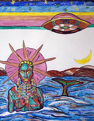 Yemaya Painting - Yemoja Ufo  by Stormm Bradshaw
