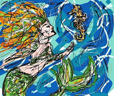 Digital Art - Mermaid Asking For Directions by Rachel Scott