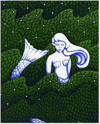 Mermaid At The Garden Art Print