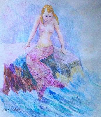 Drawing - Mermaid B by Nancy Wait