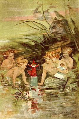 Mermaid Painting - Mermaid Babies - At The Beach America by Private Collection