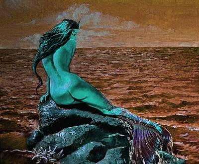 Mermaid Painting - Mermaid Change Her Tail Blue by Lila Prokopenko