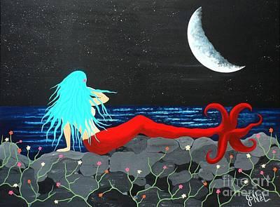 Painting - Mermaid Contemplation On Luminous Seas by JoNeL Art