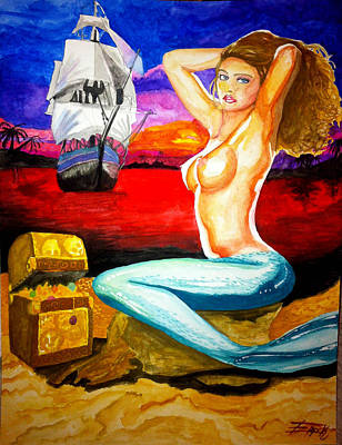 Mermaid Art Print by Eric Hamilton
