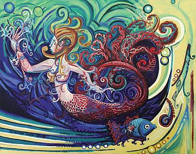 Sea Siren Painting - Mermaid Gargoyle by Genevieve Esson