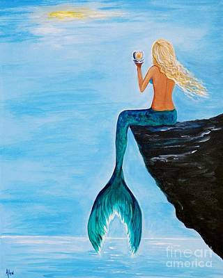 Painting - Mermaid Glam Day by Leslie Allen