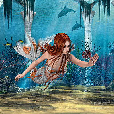 Digital Art - Mermaid Holding Sea Lily by Design Windmill