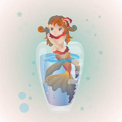 Goldfish Digital Art - Mermaid In A Glass by Mellisa Ward