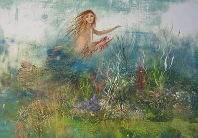 Mixed Media - Mermaid In A Sea Garden by Nancy Gorr