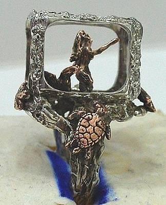 Shibuichi Jewelry - Mermaid In Aquarium Ring by Michelle  Robison