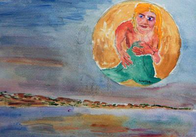 Mermaid In The Moon Art Print by Michael Helfen