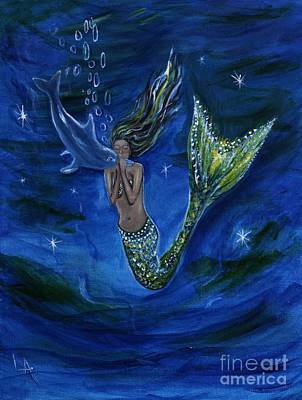 Painting - Mermaid Kissing Baby Dolphin by Leslie Allen