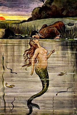 Mermaid Painting - Mermaid Kissing Gentleman - At The Beach America by Unkown