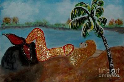 Yoga Pose Painting - Mermaid Meditates With Yoga Stretch by Gail Matthews