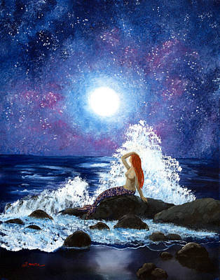 Painting - Mermaid Moonbathing by Laura Iverson