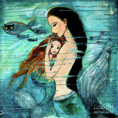 Blue Painting - Mermaid Mother And Child by Shijun Munns