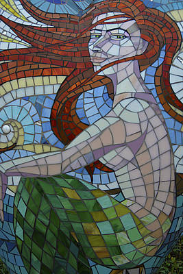 Art Print featuring the photograph Mermaid Multi-colored Glass Mosaic  by Renee Anderson