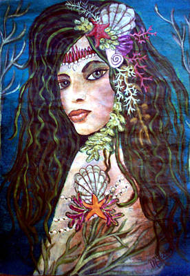 Painting - Mermaid Of The Pacific - Lemuria by Absinthe Art By Michelle LeAnn Scott