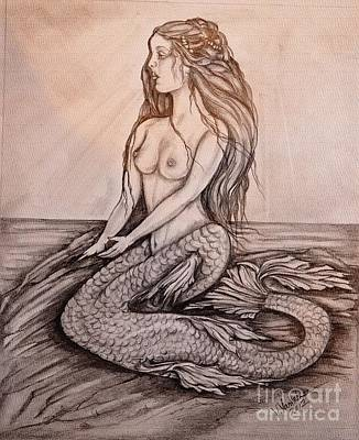 Drawing - Mermaid On Rock by Valarie Pacheco