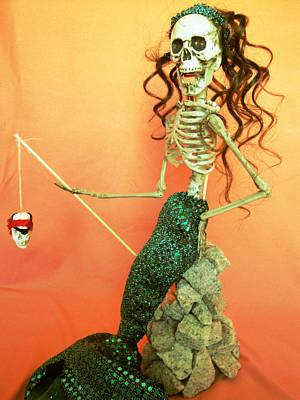 Mermaid On The Rocks Art Print