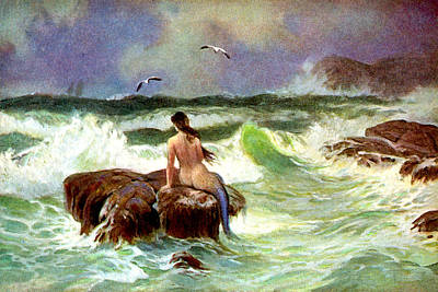 Mermaid Painting - Mermaid On The Rocks - At The Beach America by Private Collection