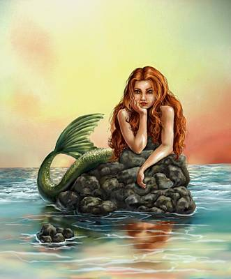 Mermaid Artwork Digital Art - Mermaid Reflections by Cassandra Gallant