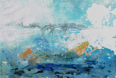 Mermaid Swimming With Dolphins Art Print