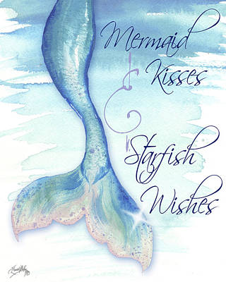 Mermaid Tail Painting - Mermaid Tail I (kisses And Wishes) by Elizabeth Medley