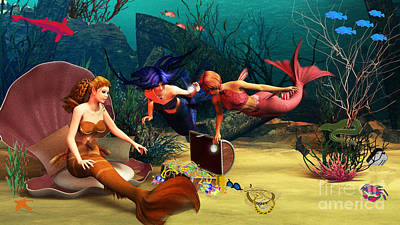 Undersea Digital Art - Mermaid Treasures by Methune Hively