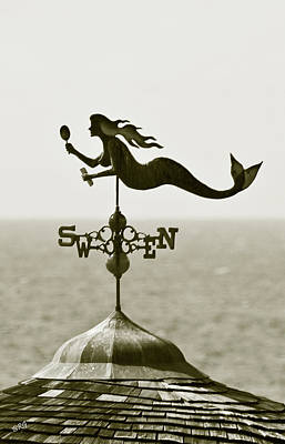 Mermaid Weathervane In Sepia Print by Ben and Raisa Gertsberg