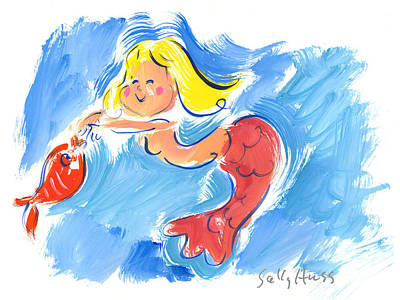 Wall Art - Painting - Mermaid With Fish by Sally Huss