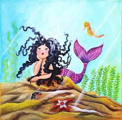 Mermaid With Pink Tale Original by Adriana Fox