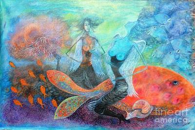 Angel Mermaids Ocean Painting - Mermaid World by Vandana Devendra