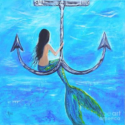 Of A Siren Painting - Mermaids Anchor Hangout by Leslie Allen
