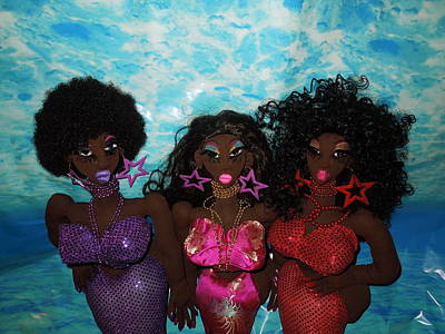 Black Cloth Dolls Sculpture - Mermaids And Sirens by Cassandra George Sturges