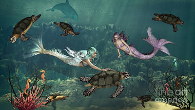 Mermaids At Turtle Springs Art Print by Methune Hively