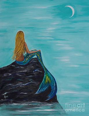 Of A Siren Painting - Mermaids Crescent Moon by Leslie Allen