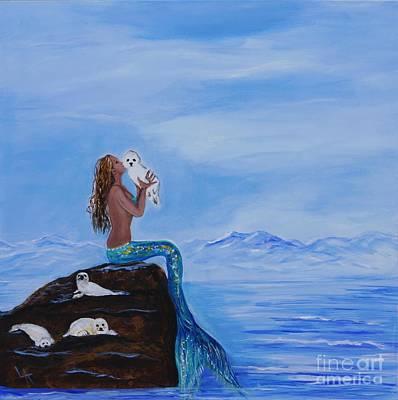 Painting - Mermaids Little Cuties by Leslie Allen