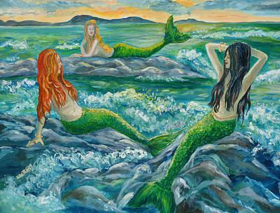 Mermaids On The Rocks Art Print